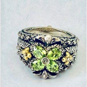 Barbara Bixby Peridot Flower Ring 925 Silver Gold
